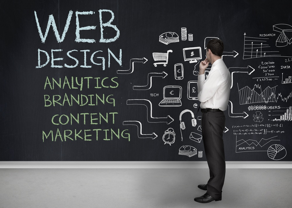 Businessman standing in front of a chalkboard with web design terms written on it